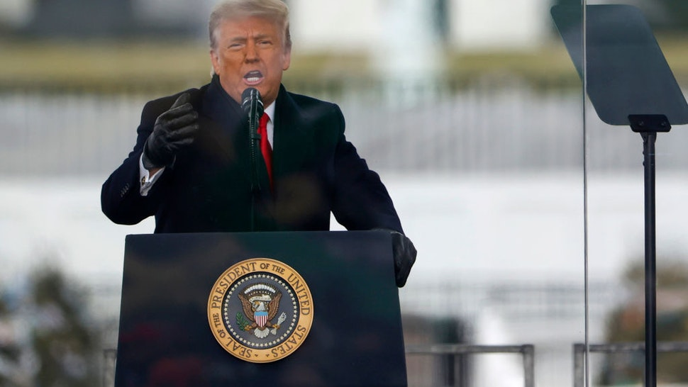 "President Donald Trump speaks at the ""Stop The Steal"" Rally on January 06, 2021 in Washington, DC."
