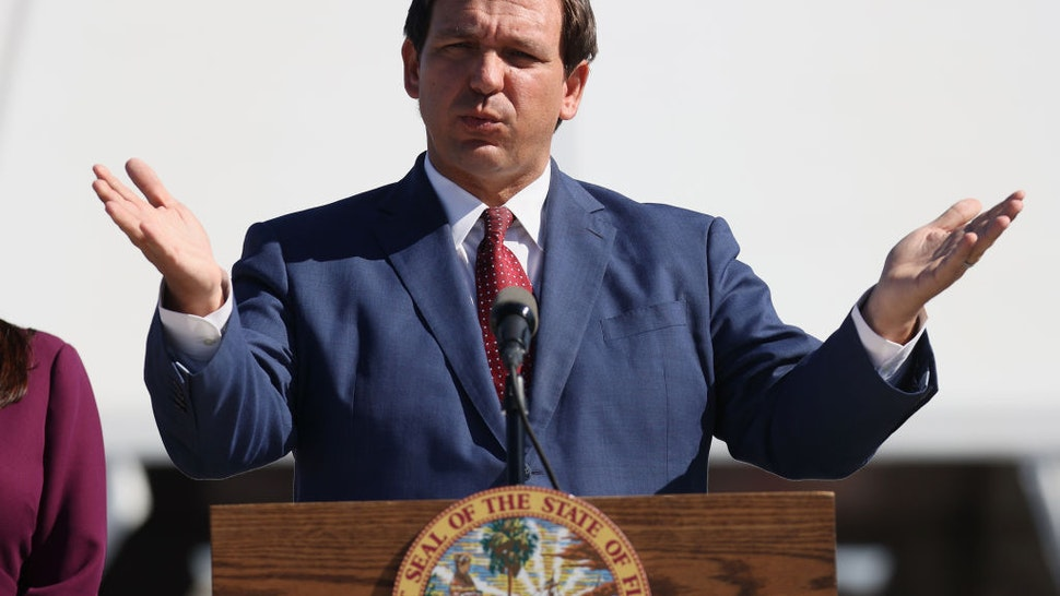 Florida Governor Ron DeSantis speaks during a press conference about the opening of a COVID-19 vaccination site at the Hard Rock Stadium on January 06, 2021 in Miami Gardens, Florida.