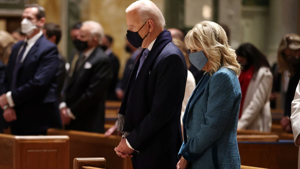 WASHINGTON, DC - JANUARY 20: U.S. President-elect Joe Biden and Dr. Jill Biden attend services at the Cathedral of St. Matthew the Apostle with Congressional leaders prior the 59th Presidential Inauguration ceremony on January 20, 2021 in Washington, DC. During today's inauguration ceremony Joe Biden becomes the 46th president of the United States. (Photo by Chip Somodevilla/Getty Images)