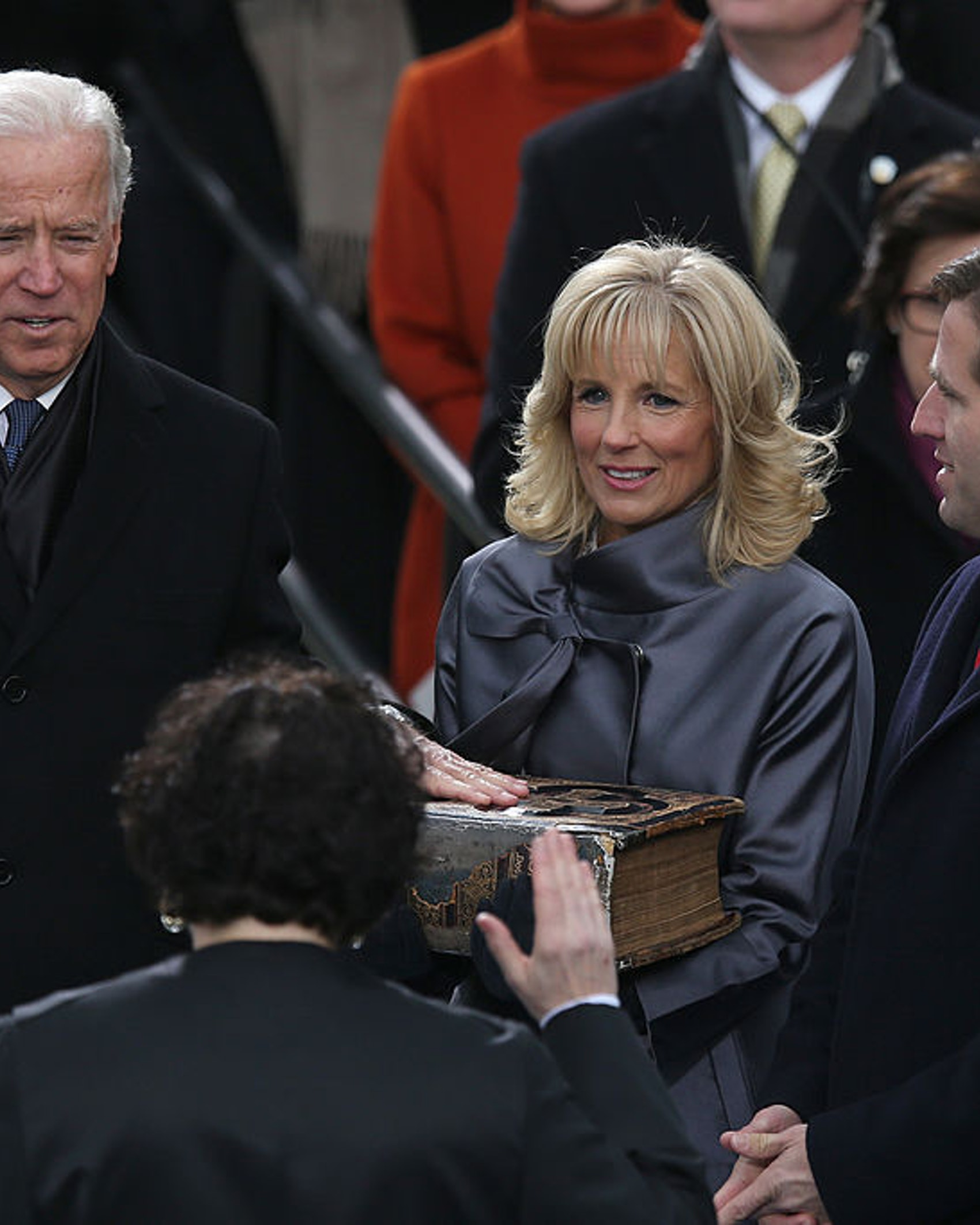 WASHINGTON, DC - JANUARY 21: U.S. Vice President Joe Biden is sworn in by Supreme Court Justice Sonia Sotomayor as wife Dr. Jill Biden and son Beau Biden look on during the presidential inauguration on the West Front of the U.S. Capitol January 21, 2013 in Washington, DC. Barack Obama was re-elected for a second term as President of the United States. (Photo by Mark Wilson/Getty Images)