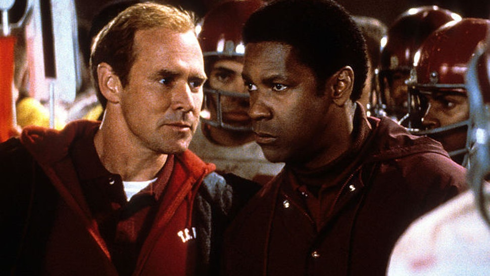 Will Patton looks to Denzel Washington in a scene form the film 'Remember The Titans', 2000. (Photo by Buena Vista/Getty Images)