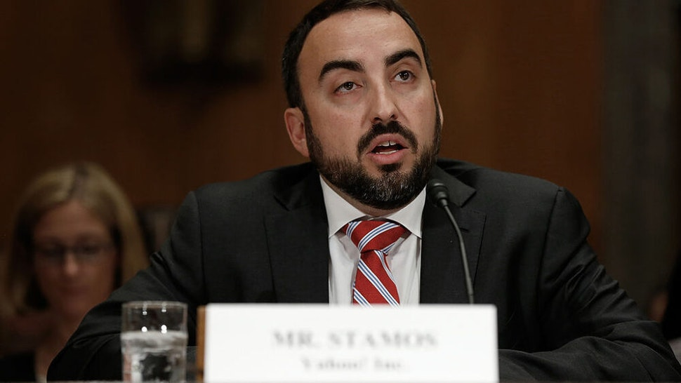 """WASHINGTON, DC - MAY 15: Alex Stamos, chief information security officer at Yahoo! Inc testifies before the Senate Homeland Security Committee May 15, 2014 in Washington, DC. The committee heard testimony on the topic of on """"Online Advertising and Hidden Hazards to Consumer Security and Data Privacy."""""""