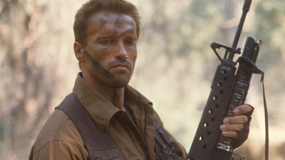 """Arnold Schwarzenegger on the set of """"Predator""""."""