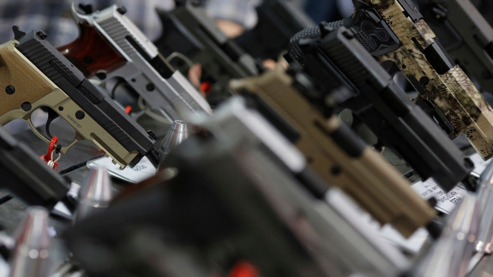 A range of pistols is seen on display at a National Rifle Association outdoor sports trade show on February 10, 2017 in Harrisburg, Pennsylvania.