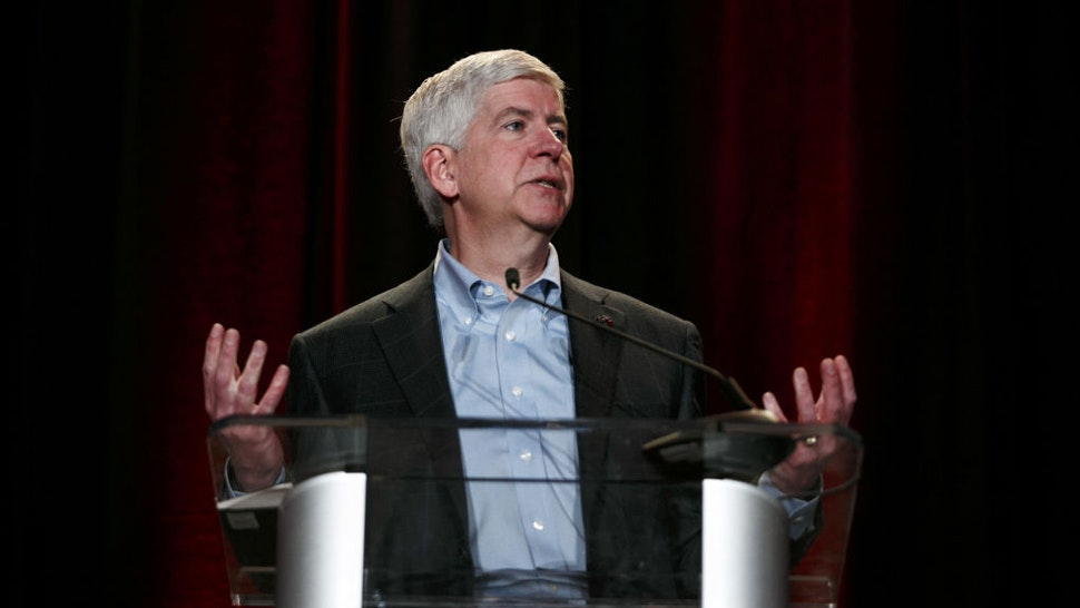 Rick Snyder, governor of Michigan, speaks during a grand opening ceremony at the expanded Toyota Motor North American Research & Development (TMNA R&D) center in York Township, Michigan, U.S., on Thursday, May 4, 2017.