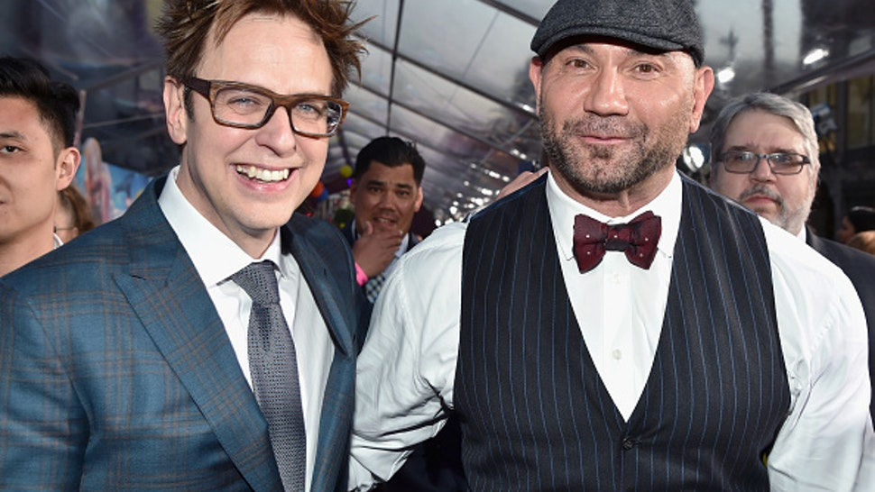 """HOLLYWOOD, CA - APRIL 19: Director James Gunn (L) and actor Dave Bautista at the premiere of Disney and Marvel's """"Guardians Of The Galaxy Vol. 2"""" at Dolby Theatre on April 19, 2017 in Hollywood, California."""