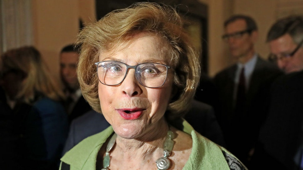BOSTON - FEBRUARY 7: Acting Massachusetts Senate president Harriette Chandler after she read a statement to the media after a private caucus at the Massachusetts State House in Boston on Feb. 7, 2018. A vote formalized the decision by Senate Democrats to transition Chandler, an 80-year-old Democrat from Worcester, from acting to permanent president. Her ascent was triggered by sexual assault allegations leveled against former Senate President Stanley C. Rosenbergs husband, Bryon Hefner, in November, and Rosenbergs decision to step down during an internal ethics investigation. (Photo by David L. Ryan/The Boston Globe via Getty Images)