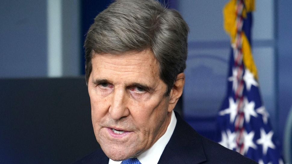 Special Presidential Envoy for Climate John Kerry speaks at a briefing on climate policy in the Brady Briefing Room of the White House in Washington, DC on January 27, 2021.