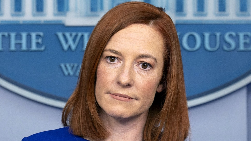 "Jen Psaki, White House press secretary, pauses during a news conference in the James S. Brady Press Briefing Room at the White House in Washington, D.C., U.S., on Wednesday, Jan. 20, 2021. Joe Biden began his presidency with a soaring appeal to end Americas ""uncivil war"" and reset the tone in Washington, delivering an inaugural address that dispensed with a laundry list of policy goals to instead confront the nation's glaring political divides as the foremost obstacle to moving the country forward."
