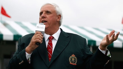 WHITE SULPHUR SPRINGS, WV - AUGUST 01: Jim Justice, owner of the Greenbrier Resort, speaks to the gallery after Stuart Appleby's victory at the Greenbrier Classic on August 1, 2010 in White Sulphur Springs, West Virginia.