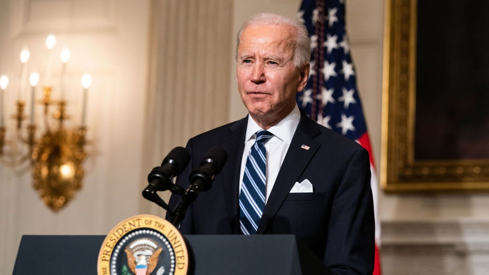 WASHINGTON, DC - JANUARY 27: U.S. President Joe Biden speaks about climate change issues in the State Dining Room of the White House on January 27, 2021 in Washington, DC. President Biden signed several executive orders related to the climate change crisis on Wednesday, including one directing a pause on new oil and natural gas leases on public lands. (Photo by Anna Moneymaker-Pool/Getty Images)