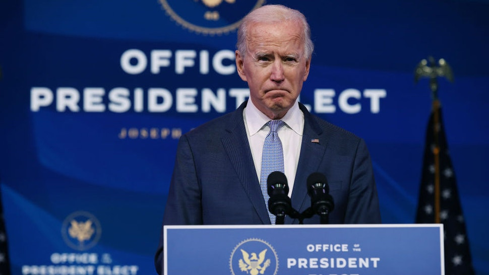 WILMINGTON, DELAWARE - JANUARY 06: U.S. President-elect Joe Biden delivers remarks about the storming of the U.S. Capitol by a pro-Trump mob at The Queen theater January 06, 2021 in Wilmington, Delaware. Supporters of President Donald Trump stormed the U.S. Capitol Wednesday as members of Congress were certifying the results of the 2020 presidential election, which Biden won. (Photo by Chip Somodevilla/Getty Images)