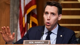 WASHINGTON, DC - DECEMBER 16: Sen. Josh Hawley (R-MO) asks questions during a Senate Homeland Security and Governmental Affairs Committee hearing to discuss election security and the 2020 election process on December 16, 2020 in Washington, DC. U.S. President Donald Trump continues to push baseless claims of voter fraud during the presidential election, which Chris Krebs called the most secure in American history. (Photo by Greg Nash-Pool/Getty Images)