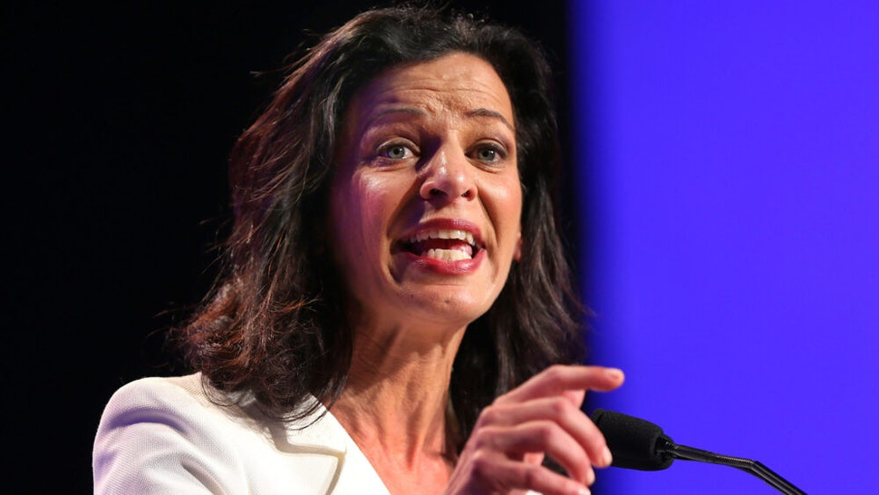 WORCESTER, MA - JUNE 14: Candidate for governor Juliette Kayyem waves to the audience before her speech at the Democrat State Convention at the DCU Center in Worcester, Mass.