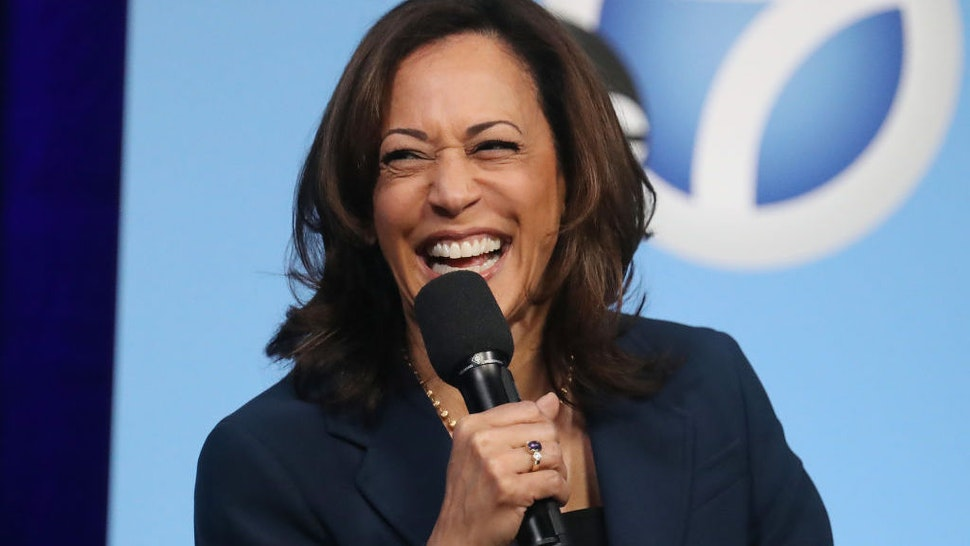 LOS ANGELES, CALIFORNIA - NOVEMBER 17: Democratic presidential candidate Sen. Kamala Harris (D-CA) laughs at a Democratic presidential forum on Latino issues at Cal State L.A. on November 17, 2019 in Los Angeles, California. The presidential primary in California will be held on March 3, 2020. (Photo by Mario Tama/Getty Images)