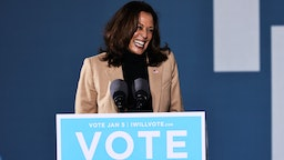 Vice President-elect Kamala Harris speaks during a drive-in rally at Garden City Stadium on January 03, 2021 in Savannah, Georgia. Vice President-elect Kamala Harris joined Georgia Democratic Senate candidates Rev. Raphael Warnock and Jon Ossoff for a campaign event two days before the January 5th runoff election that has implications into which party controls the U.S. Senate. According to AJC, 3 million people have already casted their votes ahead of Tuesday's election. (Photo by Michael M. Santiago/Getty Images)