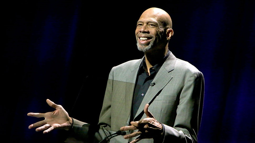 HOLLYWOOD, CA - NOVEMBER 15: Dee Kareem Abdul-Jabbar speaks onstage during the Thelonious Monk Institute International Jazz Vocals Competition 2015 at Dolby Theatre on November 15, 2015 in Hollywood, California.