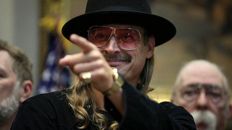 WASHINGTON, DC - OCTOBER 11: (AFP OUT) Kid Rock attends a signing ceremony as U.S. President Donald Trump signs the H.R. 1551, the 'Orrin G. Hatch-Bob Goodlatte Music Modernization Act' in the Roosevelt Room of the White House on October 11, 2018 in Washington, DC.
