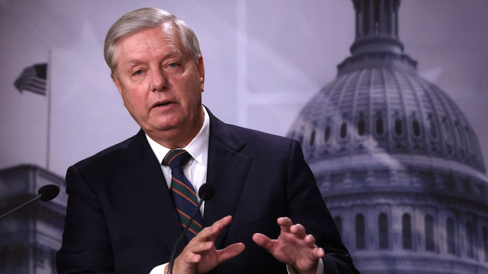 U.S. Sen. Lindsey Graham (R-SC) speaks during a news conference at the U.S. Capitol January 7, 2021 in Washington, DC. Sen. Graham condemned the pro-Trump mob's action of storming the Capitol the day before. (Photo by Alex Wong/Getty Images)