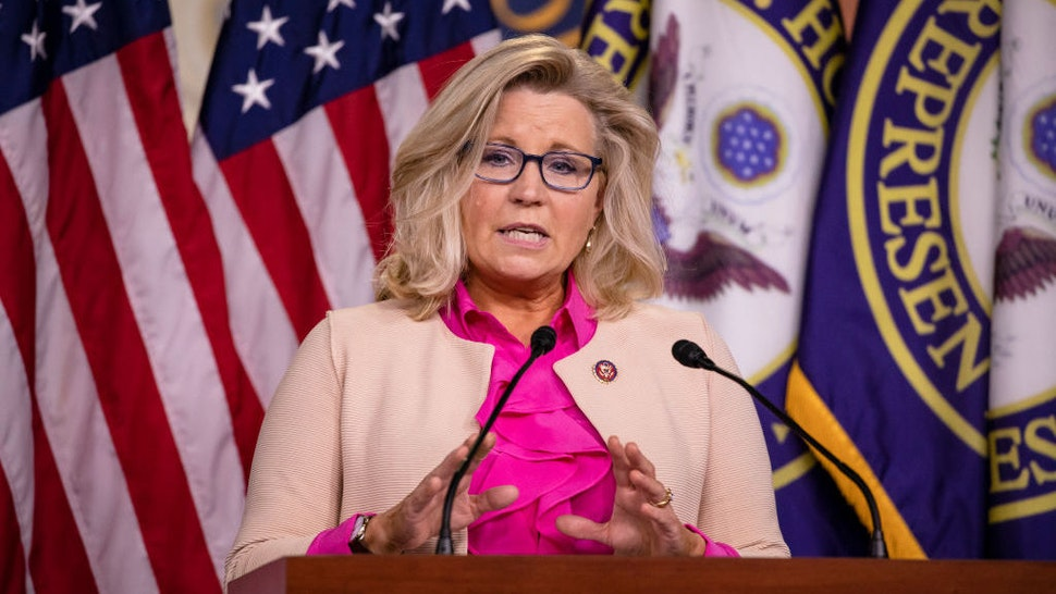 WASHINGTON, DC - JULY 21: Rep. Liz Cheney (R-WY) speaks during a news with other Republican members of the House of Representatives at the US Capitol on July 21, 2020 in Washington, DC. (Photo by Samuel Corum/Getty Images) *** Local Caption *** Liz Cheney