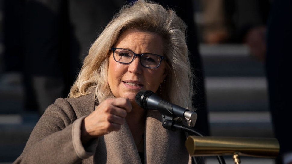 WASHINGTON, DC - DECEMBER 10: Rep. Liz Cheney (R-WY) speaks during a news conference with fellow House Republicans outside the U.S. Capitol December 10, 2020 in Washington, DC. McCarthy and House Republicans discussed their desire to extend the Paycheck Protection Program and provide relief for small business owners and their employees who have been hurt by the coronavirus pandemic. (Photo by Drew Angerer/Getty Images)