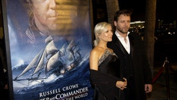 """Danielle Spencer and Russell Crowe during """"Master & Commander: The Far Side of the World"""" Los Angeles Premiere - Red Carpet at Samuel Goldwyn Theater in Beverly Hills, California, United States."""