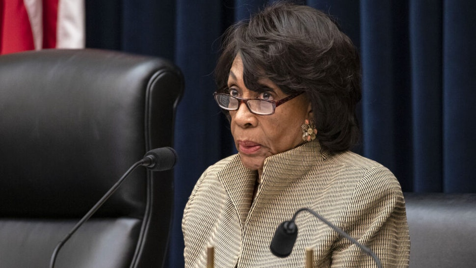 """WASHINGTON, DC - MARCH 11: Chairwoman Rep. Maxine Waters (D-CA) questions former members of the Wells Fargo's Board of Directors Elizabeth Duke and James Quigley during a House Financial Services Committee hearing on """"Holding Wells Fargo Accountable: Examining the Role of the Board of Directors in the Bank's Egregious Pattern of Consumer Abuse"""" on Capitol Hill on March 11, 2020 in Washington, DC. Both Duke and Quigley resigned from the board two days prior to the hearing after the House released a scathing report on Wells Fargo's response to consumer abuse scandals."""