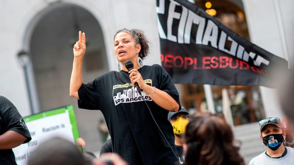Melina Abdullah from Black Lives Matter addresses the crowd during a demonstration to ask for the removal of District Attorney Jackie Lacey in front of the Hall of Justice, in Los Angeles, California, on June 17, 2020.