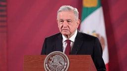 MEXICO CITY, MEXICO - AUGUST 13: Andres Manuel Lopez Obrador, president of Mexico speaks during the announcement that Mexico and Argentina will produce the Oxford Coronavirus Vaccine at Palacio Nacional on August 13, 2020 in Mexico City, Mexico. The reached agreement includes a initial production of 150 million doses of the potential COVID-19 vaccine with British global bio-pharmaceutical company AstraZeneca. The vaccines for Latin America (except Brazil) will be produced in Argentina and Mexico.