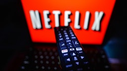 A photo of a person about to watch Netflix on a screen inside an apartment, during the coronavirus lockdown in Dublin. On Wednesday, January 13, 2021, in Dublin, Ireland.