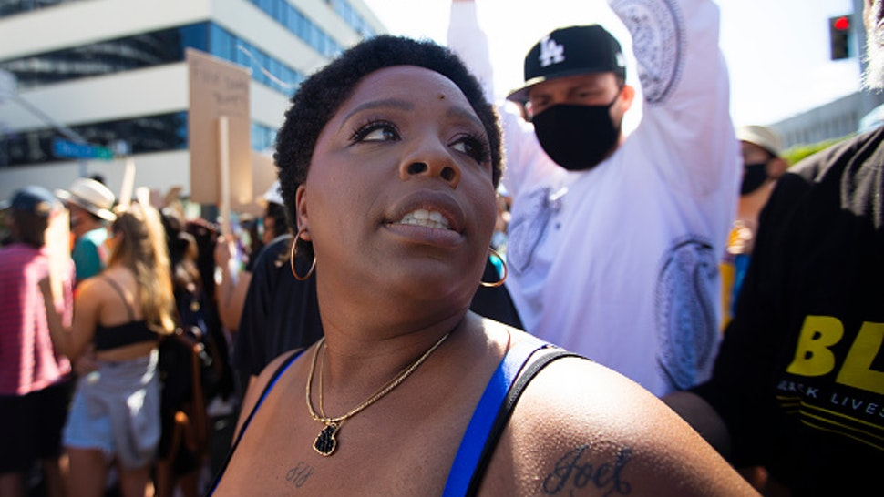 HOLLYWOOD, CA JUNE 7, 2020: Patrisse Cullors is one of the three co-founders of the Black Lives Matter movement. She participated in the peaceful march in Hollywood, CA today Sunday June 7, 2020. Thousands of people participated in todays peaceful protest against police sparked by the death of George Floyd.