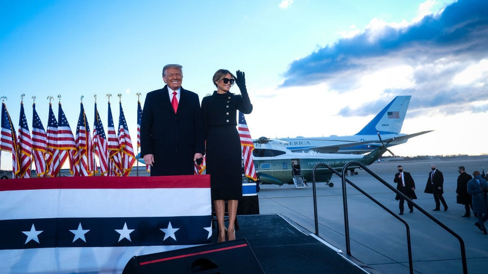 President Donald Trump speaks to supporters at Joint Base Andrews before boarding Air Force One for his last time as President on January 20, 2021. Trump is traveling to his Mar-a-Lago Club in Palm Beach, Fla. (photo by Pete Marovich for The New York Times)