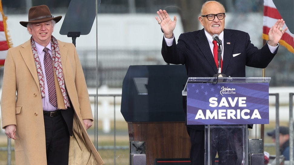 "WASHINGTON, USA - JANUARY 06: Rudy Giuliani, personal lawyer to U.S. President Donald Trump, speaks during a ""Save America Rally"" near the White House in Washington, D.C., U.S., on Wednesday, Jan. 6, 2021."