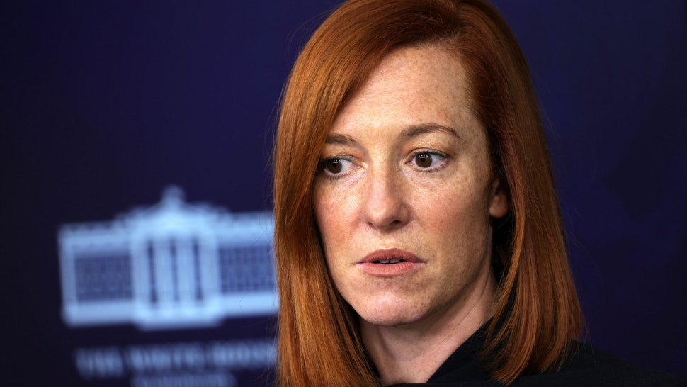 WASHINGTON, DC - JANUARY 22: White House Press Secretary Jen Psaki participates in a White House press briefing at the James Brady Press Briefing Room of the White House January 22, 2021 in Washington, DC. Psaki discussed various topics including the economic crisis that was caused by the COVID-19 pandemic.