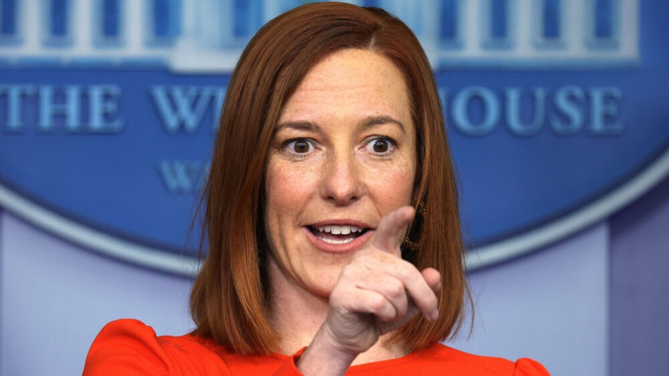 WASHINGTON, DC - JANUARY 21: White House Press Secretary Jen Psaki speaks during a press briefing at the James Brady Press Briefing Room of the White House January 21, 2021 in Washington, DC. Psaki held her second press briefing since President Joe Biden took office yesterday.