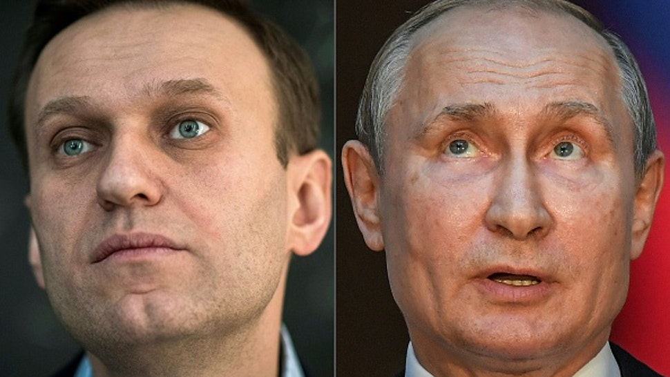 "(COMBO) This combination of pictures created on October 1, 2020 shows Russian opposition leader Alexei Navalny (L, on January 16, 2018 in Moscow) and Russian President Vladimir Putin (on July 4, 2019 in Rome). - Russian opposition leader Alexei Navalny has accused President Vladimir Putin of being behind his poisoning, in his first interview published since he left the German hospital where he was treated. ""I assert that Putin is behind this act, I don't see any other explanation,"" he told the German weekly Der Spiegel, which published extracts from the interview on its website Thursday, October 1, 2020."