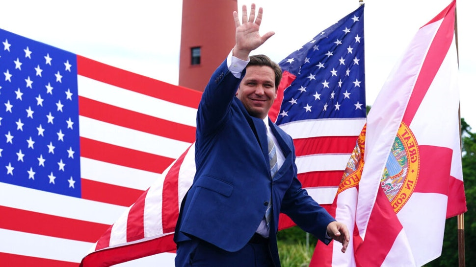 Florida Governor Ron DeSantis arrives at the Jupiter Inlet Lighthouse and Museum for a campaign event with US President Donald Trump in Jupiter, Florida, on September 8, 2020.