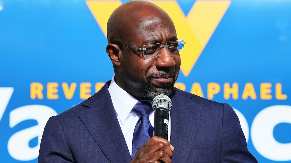 MARIETTA, GEORGIA - JANUARY 05: Georgia Democratic candidate Rev. Raphael Warnock speaks at his Labor Canvass Launch at IBEW Local 613 on January 05, 2021 in Marietta, Georgia. Polls have opened across Georgia in the two runoff elections, pitting incumbents Sen. David Perdue (R-GA) and Sen. Kelly Loeffler (R-GA) against Democratic candidates Rev. Raphael Warnock and Jon Ossoff.