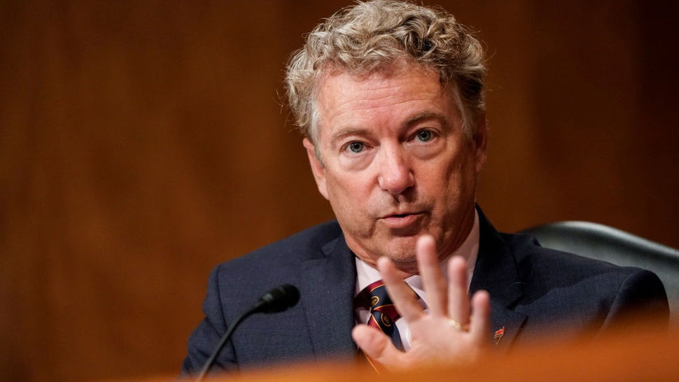 "WASHINGTON, DC - SEPTEMBER 24: U.S. Sen. Rand Paul (R-KY) asks questions during a Senate Homeland Security and Governmental Affairs Committee hearing on ""Threats to the Homeland"" on Capitol Hill on September 24, 2020 in Washington, DC. (Photo by Joshua Roberts-Pool/Getty Images)"