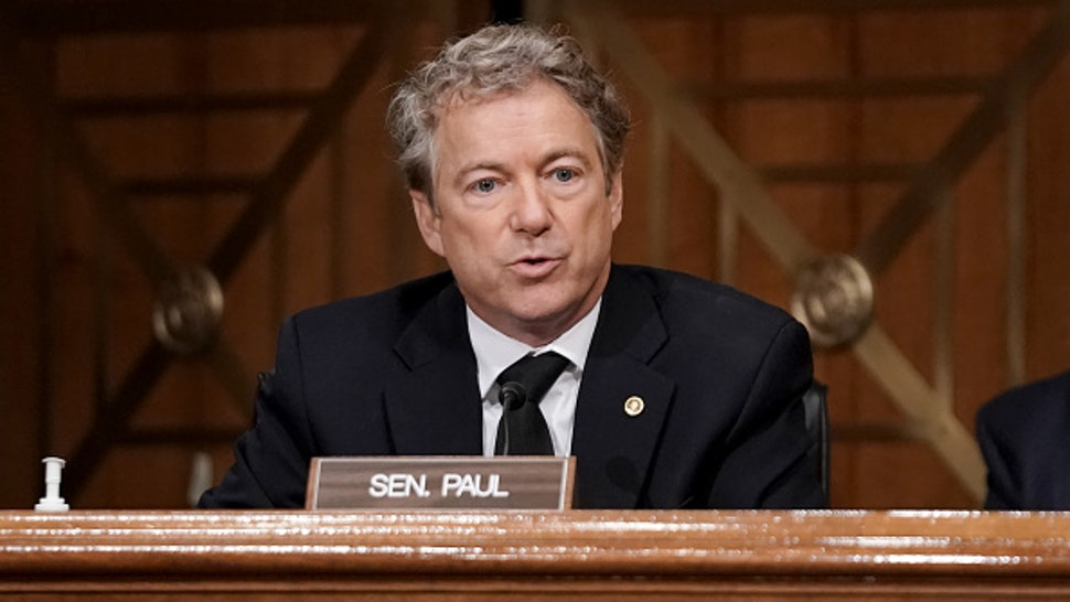 WASHINGTON, DC - DECEMBER 16: Sen. Rand Paul (R-KY) asks questions during a Senate Homeland Security and Governmental Affairs Committee hearing to discuss election security and the 2020 election process on December 16, 2020 in Washington, DC. U.S. President Donald Trump continues to push baseless claims of voter fraud during the presidential election, which Chris Krebs called the most secure in American history.
