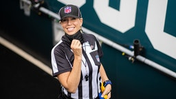 JACKSONVILLE, FLORIDA - OCTOBER 18: Line judge Sarah Thomas #53 poses for a photo before the start of a game between the Detroit Lions and the Jacksonville Jaguars at TIAA Bank Field on October 18, 2020 in Jacksonville, Florida. (