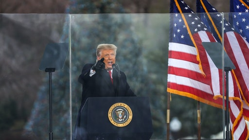 """WASHINGTON D.C., USA - JANUARY 6: US President Donald Trump speaks at """"Save America March"""" rally in Washington D.C., United States on January 06, 2021."""