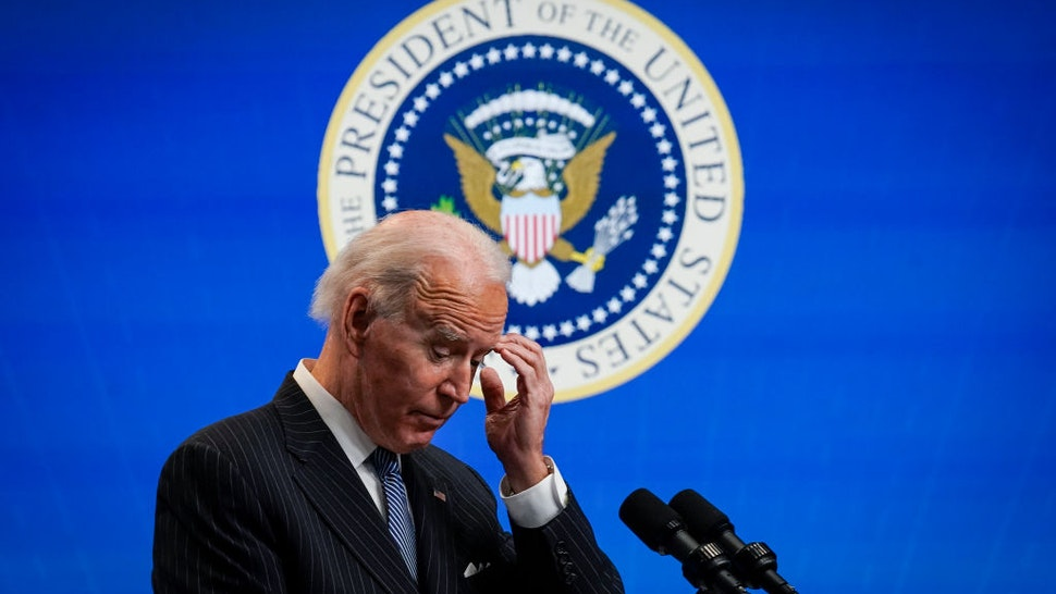 WASHINGTON, DC - JANUARY 25: U.S. President Joe Biden pauses while speaking after signing an executive order related to American manufacturing in the South Court Auditorium of the White House complex on January 25, 2021 in Washington, DC. President Biden signed an executive order aimed at boosting American manufacturing and strengthening the federal governments Buy American rules. (Photo by