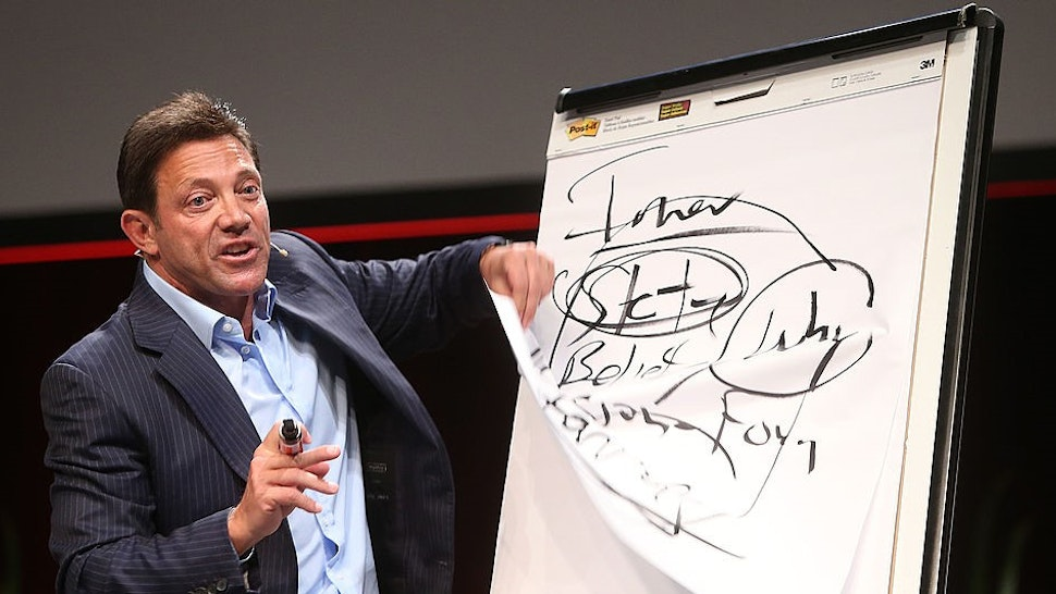 GOLD COAST, AUSTRALIA - JUNE 1: (EUROPE AND AUSTRALASIA OUT) Motivational speaker Jordan Belfort speaks on 'The Art of Prospecting' at a real estate agents' conference at the Gold Coast Convention Centre on June 1, 2014 on the Gold Coast, Australia. (Photo by
