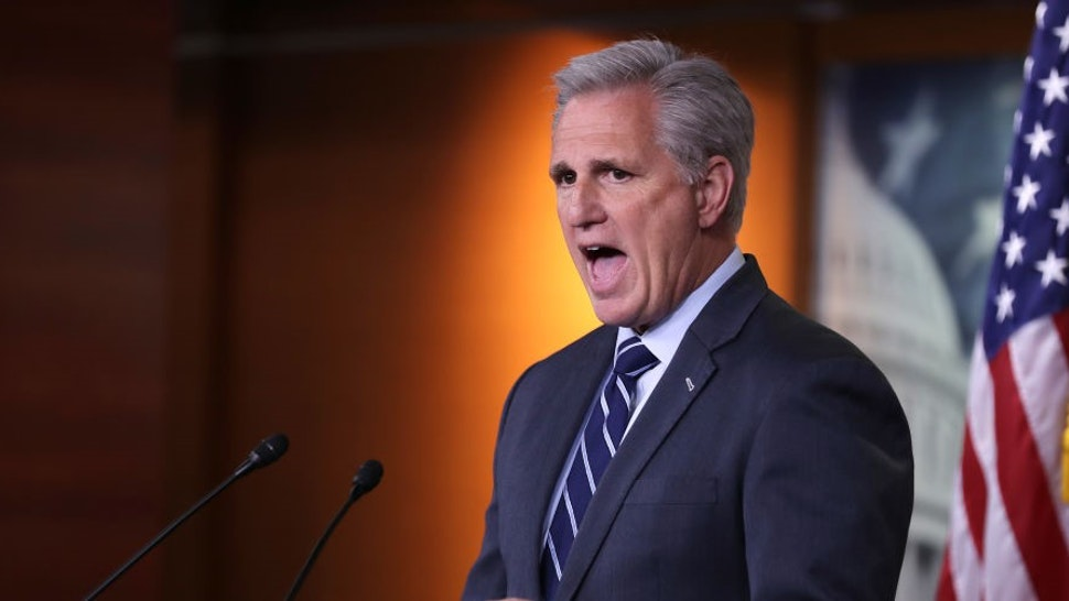 WASHINGTON, DC - JUNE 13: House Minority Leader Kevin McCarthy (R-CA) holds his weekly news conference at the U.S. Capitol June 13, 2019 in Washington, DC. In the wake of remarks by President Donald Trump that he would accept compromising information about a political opponent from a foreign power, McCarthy said that he would support legislation proposed by Democrats that would require people to report to the FBI if they are approached with offers of that information. (Photo by