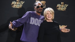 LOS ANGELES, CA - MAY 07: Snoop Dogg and Martha Stewart pose in the press room at the 2017 MTV Movie and TV Awards at The Shrine Auditorium on May 7, 2017 in Los Angeles, California. (Photo by
