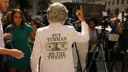WASHINGTON, DC - JUNE 27: U.S. Rep. Joyce Beatty (D-OH) talks to reporters following a rally with fellow House Democrats to demand that American abolitionist heroine Harriet Tubman's image be put on the $20 bill outside the U.S. Treasury Department June 27, 2019 in Washington, DC. Treasury Secretary Steven Mnuchin told a Congressional committee in June that the Bureau of Engraving and Printing would not be able to meet the 2020 deadline for getting Tubman's image on the bill. (Photo by
