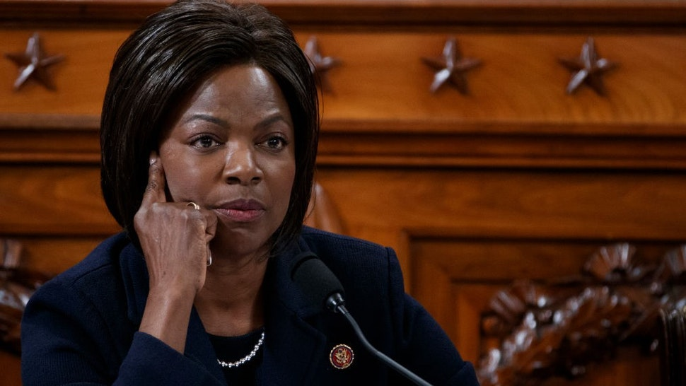 WASHINGTON, DC - NOVEMBER 19: Rep. Val Demings (D-FL) questions former State Department special envoy to Ukraine Kurt Volker and former National Security Council Senior Director for European and Russian Affairs Tim Morrison during testimony before the House Intelligence Committee in the Longworth House Office Building on Capitol Hill November 19, 2019 in Washington, DC. The committee heard testimony during the third day of open hearings in the impeachment inquiry against U.S. President Donald Trump, whom House Democrats say held back U.S. military aid for Ukraine while demanding it investigate his political rivals. (Photo by
