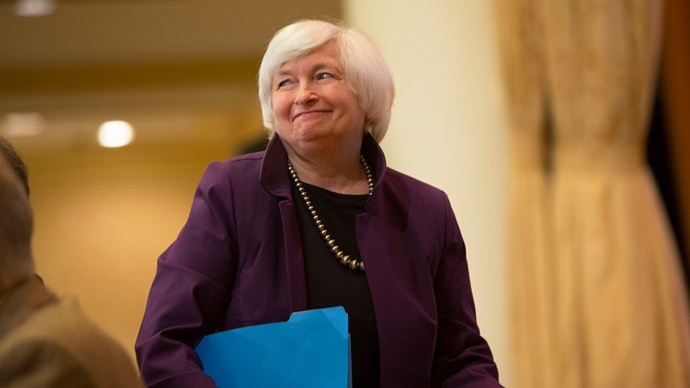 PHILADELPHIA, PA - JUNE 6: Federal Reserve Chair Janet L. Yellen walks to the stage to deliver a speech on economic outlook and monetary policy on June 6, 2016 in Philadelphia, Pennsylvania. Today is the last time Ms. Yellen will speak publicly before the blackout period preceding the Federal Open Market Committee meeting on June 15, 2016. (Photo by