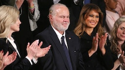 Radio personality Rush Limbaugh and wife Kathryn (L) attend the State of the Union address with First Lady Melania Trump in the chamber of the U.S. House of Representatives on February 04, 2020 in Washington, DC.